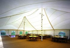 Inside the Pole tent.