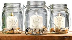 Set of 3 Clear Glass Mason Jars Votive Candle Holder 32oz Mason Jar Sconces with Hanging Wire Tabletop Centerpiece * Visit the image link more details. (It is Amazon affiliate link) #instamood