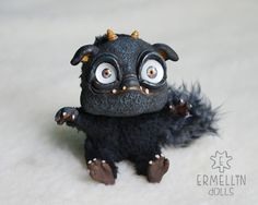 Poseable Black Imp Baby OOAK Art Doll Mixed Media by Ermellin