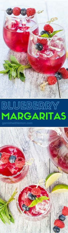 Celebrate all things summer with these Batch Blueberry Margaritas. Don't let the vibrant color fool you into thinking that they are super sweet, just the perfect balance of tequila, lime, mint and blueberries!