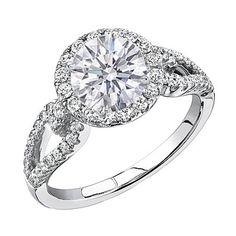 Round Diamond Halo Engagment ring Open Horseshoe pave band