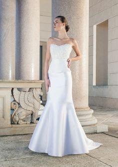 Optical bipartite fishtail wedding dress of silk by Giuseppe Papini