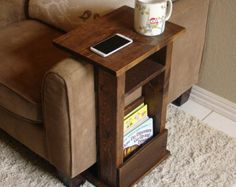 Handcrafted tray table stand with side storage slot. The perfect addition to a sofa chair in any home, apartment, condo, or man cave.  It has been