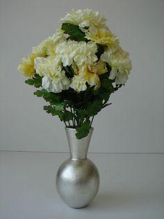1 Strauß Päonien Pfingstrosen Kunstblumen Blumenstrauß 42cm gelb weiß Strauß neu