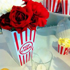 movie themed bridal shower popcorn and flower centerpiece