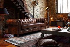Kensington Chesterfield Leather Sofa by Rose & Moore in an Industrial Interior #LeatherSofa