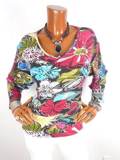 CHICO Sz 3 Womens Top L XL V Neck Cotton Tee Blouse Casual Shirt Floral Print #Chicos #Blouse #Casual