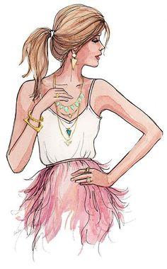 Girl drawings: Melanie Auld Jewelry