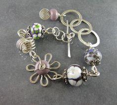 Sterling silver and purple lampwork flower bracelet   WickwireJewelry - Jewelry on ArtFire