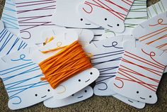 Printable Thread Bobbins: Print these out on carstock and wind up your embroidery floss. Wonderful!
