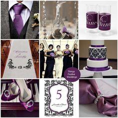 Purple & black wedding color palette. Damask gives the theme a vintage vibe.