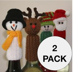 2 Pack Tic Tac Toys/Wine Bottle Toppers - Christmas and Animals/People - INSTANT DOWNLOAD PDF Knitting Pattern via Etsy