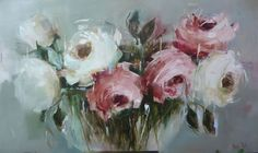 Pink and White Roses - 91x152cm - Nicole Pletts