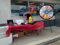 Out and about with the Spin-To-Save Wheel in Mt. Pleasant! Tomorrow we go to Lansing! Buy this Prize Wheel at http://PrizeWheel.com/products/floor-prize-wheels/big-40-prize-wheel/.
