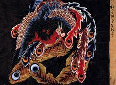 八方睨大鳳凰図(葛飾北斎の画)の拡大画像