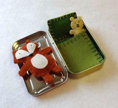 Fox in a Box with green bedding - wool felt fox and teddy bear in Altoids Tin - ready to ship Felt Fox, Wool Felt, Craft Gifts, Diy Gifts, Matchbox Crafts, Mint Tins, Green Bedding, Altoids Tins, Operation Christmas Child