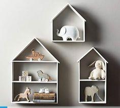 Shelves for a baby or child's room (via Mommo Design). Cool Shelves, House Shelves, Ikea Wall Shelves, Grey Shelves, House Wall, Display Shelves, Baby Bedroom, Kids Bedroom, Restoration Hardware Baby