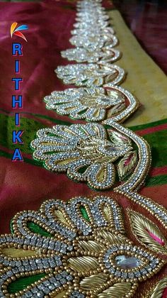 Saree Tassels Designs, Saree Kuchu Designs, Wedding Saree Blouse Designs, Pattu Saree Blouse Designs, Fancy Blouse Designs, Border Embroidery Designs, Bead Embroidery Patterns, Hand Work Embroidery, Aari Embroidery