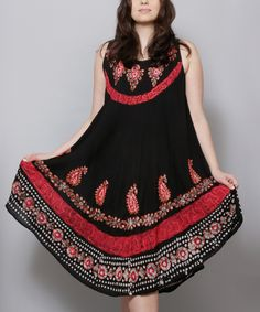 Look what I found on #zulily! Black & Red Paisley Embroidered Midi Dress - Plus by Highness NYC #zulilyfinds
