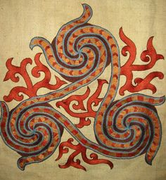 Reconstruction of the Oseberg ship embroidery fragment by Ekaterina Savelyeva.