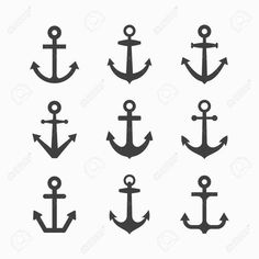 Illustration about Set of anchor symbols illustration. Illustration of aboard, sailing, pictogram - 43273039 Anchor Finger Tattoos, Small Anchor Tattoos, Anchor Compass Tattoo, Finger Tattoo Designs, Tattoo Designs Men, Fake Tattoos, Pretty Tattoos, Mini Tattoos, Body Art Tattoos