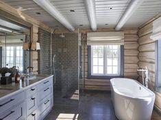 Bathroom shower tile white ceilings new Ideas Cabin Homes, White Tile Shower, Cabin Decor, Cottage Interiors, House Bathroom, Cabin Bathrooms, Modern Log Cabins, Bathroom Interior Design, Log Cabin Interior