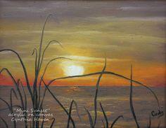 Mini Sunset Painting: acrylic paint on miniture canvas
