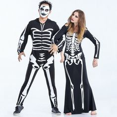 9a0f76f202 Couple Lover Skeleton Costume Masquerade Unisex Men Adult Halloween Cosplay  Costumes For Women Sexy Skull Fancy Dress One piece