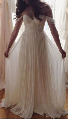 Charming White A-line Chiffon Long