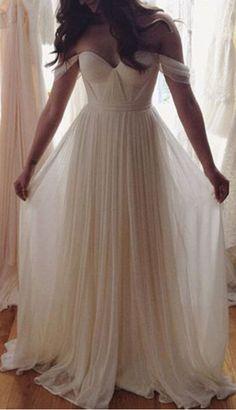 Charming White A-line Chiffon Long