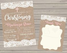 Lace Christening Invitation for girls Lace Communion