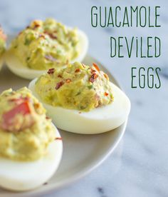 These guacamole deviled eggs are a fusion of two delicious party appetizers into one.
