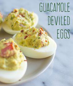 Guacamole Deviled Eggs - because who doesn't love guacamole?  Photo credit healthynibblesandbits.com