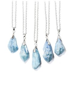 Iridescent Icy Blue Healing Crystal Quartz Necklace by VFJewellery