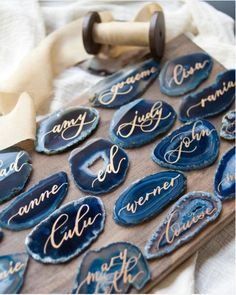 Blue Agate Slices With Gold Calligraphy - Beautiful and Creative Wedding Place Card Ideas - Photos