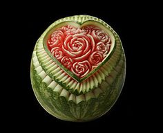Watermelon carving at festival in Italy.