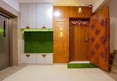Minimalist Luxury With A Swish Theme Apartment Interior House Main Door Design, Small House Interior Design, Door Design Interior, Entrance Design, Entrance Doors, House Design, Ocean Inspired Bedroom, Wardrobe Door Designs, Indian Interiors