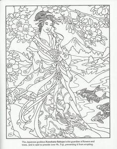 Geisha Adult Coloring Page - Konohana Sakuya #AdultCP #Asian