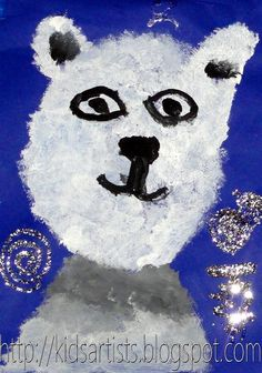 Kids Artists: Stamped polar bears using marshmallows. Maybe use painted papers for background and glue polar bear on background?