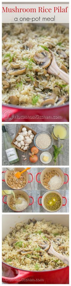 Mushroom Rice Pilaf Recipe (a one-pot meal). Delicious, easy, and has simple ingredients. | NatashasKitchen.com – More at http://www.GlobeTransformer.org
