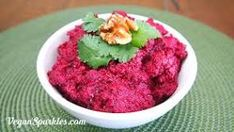 http://vegansparkles.com/2013/12/02/roast-beetroot-walnut-dip/