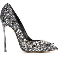 Casadei Embellished Glitter Pumps (3.765 BRL) ❤ liked on Polyvore featuring shoes, pumps, heels, sapatos, casadei, metallic, stiletto heel pumps, metallic pumps, high heel stilettos and casadei pumps