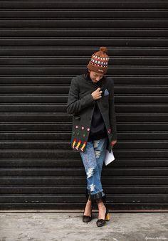Ramya Giangola, fringe jeans, detailed coat, pumps, hat / Garance Doré