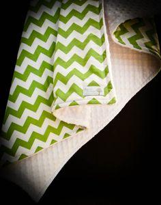 Chevron Minky Stroller Blanket, Apple Green and White