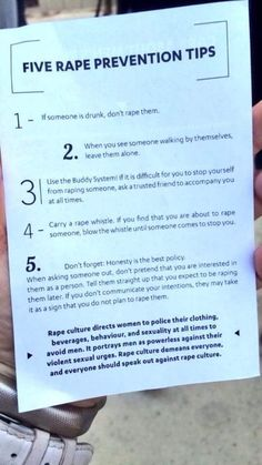 Five #Rape #Prevention Tips...for would-be rapists. #rapeculture #PTSD