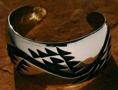Hupa artist George Blake, silver cuff with Hupa design on it. LBD