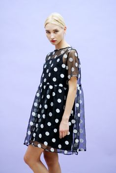 Organza Embroidered Polka Smock Dress Black