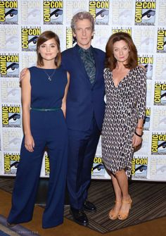 Jenna Coleman, Peter Capaldi, and Michelle Gomez at the Doctor Who photocall at Comic-Con International (09.07.15)