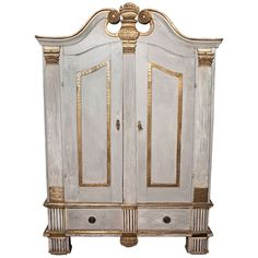 19th Century Continental Painted and Gilt Armoire   From a unique collection of antique and modern wardrobes and armoires at https://www.1stdibs.com/furniture/storage-case-pieces/wardrobes-armoires/