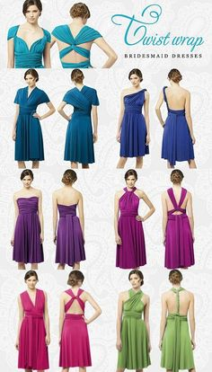 The Twist Wrap Bridesmaid Dresses. Available in Short, Tea Length & Long.... Choose from a wide variety of colors and sizes.